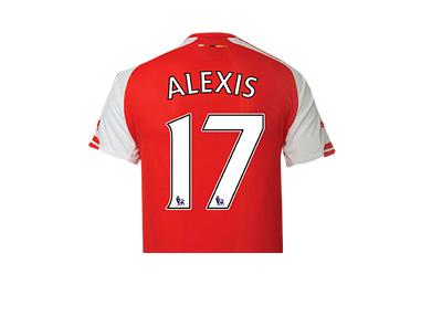 Arsenal FC 2014/15 Shirt - Alexis Sanchez - Number 17 - Back Side