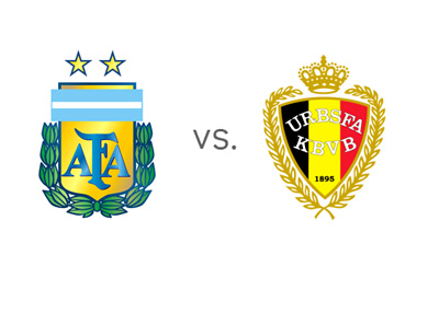 FIFA World Cup matchup - Argentina vs. Belgium - Head to Head - Team Crests / Badges / Logos