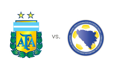 Argentina vs Bosnia Herzegovina - National Team Football Logos - Matchup