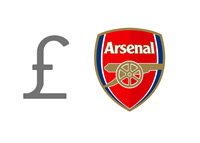 Arsenal FC Finances - Pound Symbol next to the Team Logo - Illustration