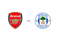 Arsenal vs. Wigan - English Premier League Matchup - Team Logos