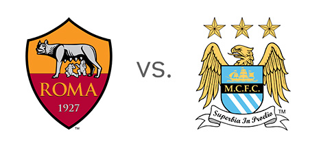 AS Roma vs. Manchester City - Matchup and Odds - UEFA Champions League - Team Logos / Badges / Crests
