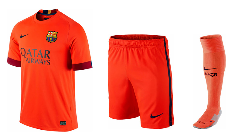 All orange - Barcelona FC 2014/15 season away kit - shirt, shorts and socks