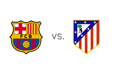 Spanish la Liga - Primera - Barcelona vs. Atletico Madrid - Team logos / crests / badges
