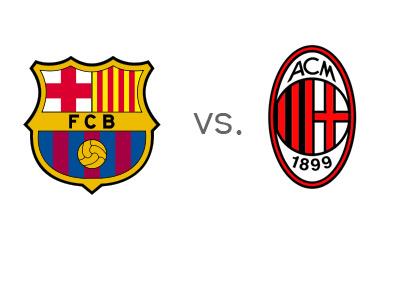 UCL Matchup - Barcelona vs. AC Milan - Team Logos