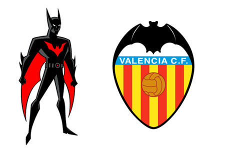 Batman Beyond cartoon character next to the Valencia Football Club crest - Logo and trademark legal dispute