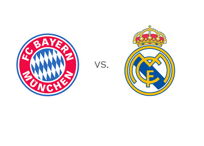 UEFA Champions League matchup - Bayern Munich vs. Real Madrid - Team Crests / Badges / Logos