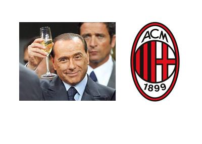 Silvio Berlusconi toasting next to AC Milan logo - Composite