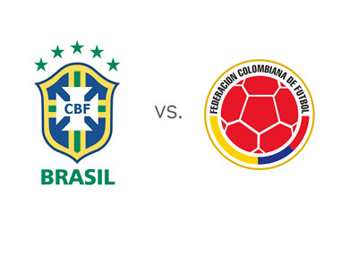 Brasil vs. Colombia - World Cup Matchup - Football Head to Head - National Team Logos / Badges / Crests