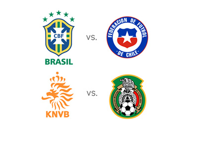 Brazil vs. Chile and Netherlands vs. Mexico - World Cup Matchups - Team Badges