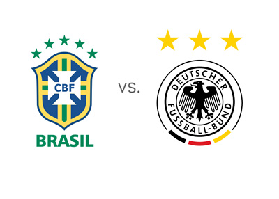 FIFA World Cup - Brazil (Brasil) vs. Germany - Team Logos - Badges - Crests - Matchup - Odds