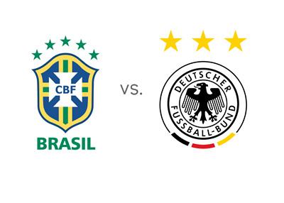 FIFA World Cup - Brazil (Brasil) vs. Germany - Team Logos - Badges - Crests - Matchup - Odds