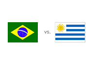 Brazil vs. Uruguay - Matchup and Country Flags
