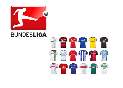Bundesliga logo and 2015/16 season team home kits