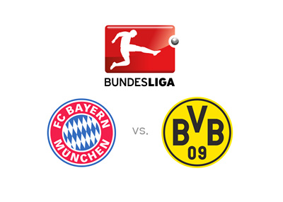 Bundesliga game - Bayern Munich vs. Borussia Dortmund - Team badges, odds, matchup