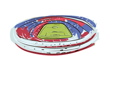 The Camp Nou Stadium in Barcelona - The Largest Football Stadium in Europe - Illustration / Drawing