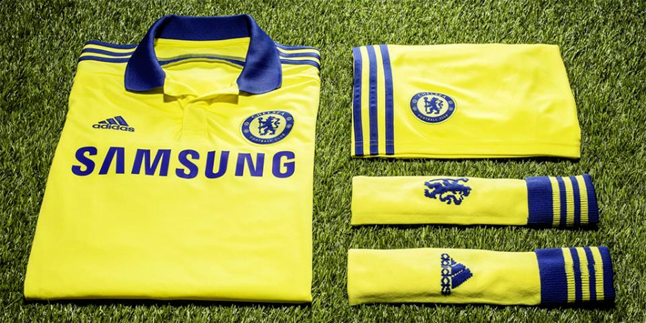 Chelsea Football Club 2014/15 season away jersey in all yellow - by Adidas