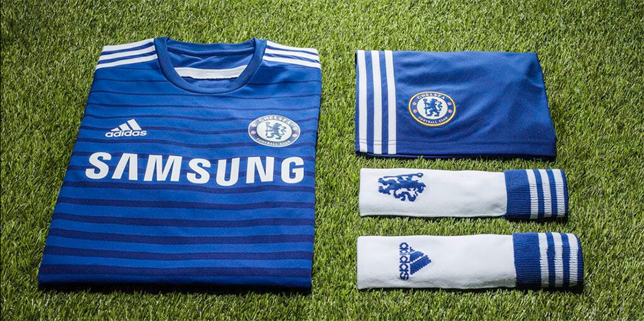 The Chelsea FC home kit (jersey) for the 2014/15 season - made by Adidas