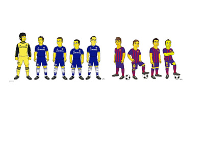 Chelsea and Barcelona Football Players as Characters from The Sympsons - Drawing