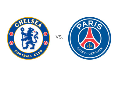 Matchup between Chelsea and Paris Saint-Germain (PSG) - Champions League - Team Logos - Badges / Crests - Favourite - Head to Head - Odds