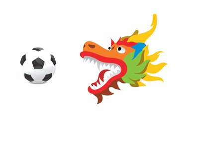The Chinese dragin (in full colour) is eying the football.  Illustration / concept.