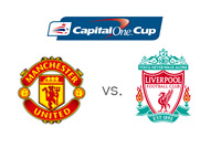Capital One Cup Matchup - Manchester United vs. Liverpool - Team and Tournament Logos