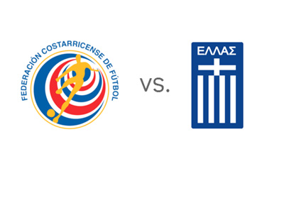 Costa Rica vs. Greece - World Cup Matchup - Team Logos / Badges / Crests - Head to Head