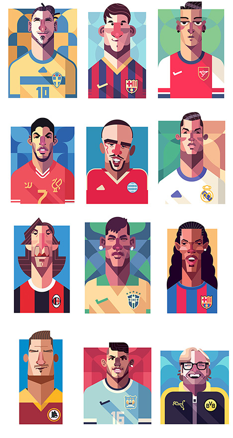 Daniel Nyari Art - Football Portraits - Messi, Ibrahimovic, Ronaldo, Totti, Ronaldinho, Pirlo, Klopp, Ribery, Neymar, Aguero, Suarez and Ozil