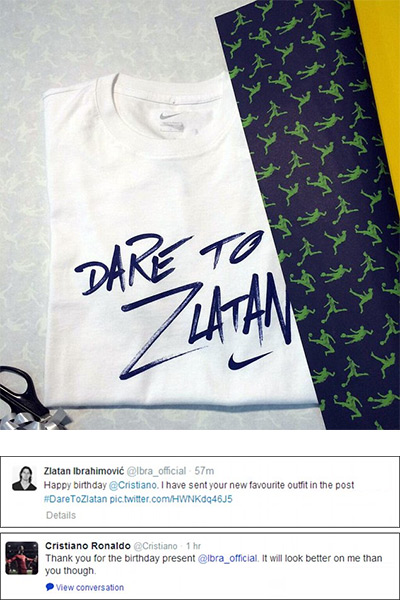 Dare to Zlatan Gift and Tweet for Cristiano Ronaldo