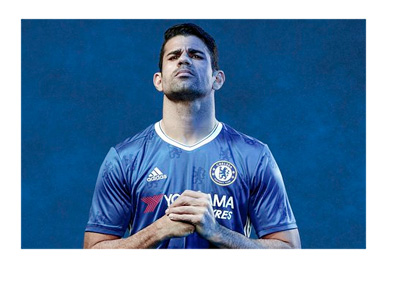 Chelsea FC player Diego Costa is modeling the 2016-17 season kit made by Adidas
