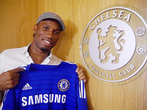 Didier Drogba signs for Chelsea FC - July 2014