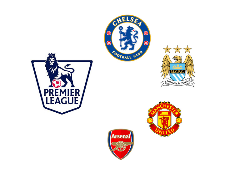 English Premier League logo - Chelsea, Manchester City, Man United and Arsenal team crests - Odds to win the league