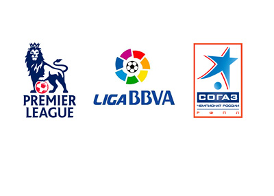League Logos - English Premier League - Liga BBVA (Spanish Liga) and the Russian Premier League