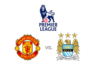 English Premier League matchup - Manchester United vs. Manchester City - Odds - Preview - Team Logos / Badges / Crests - Favourites to win