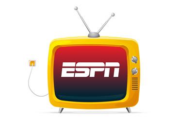 Old TV on ESPN channel - Illustration