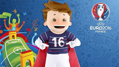 UEFA Euro 2016 France Mascot - Superhero Boy with Cape - Driblou - Goalix - Super Victor - Blue background - Logo
