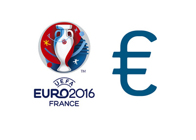 The UEFA Euro Cup 2016 France logo next to the euro currencty sign