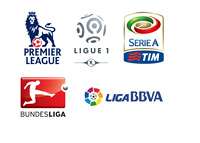 The Logos of top European football associations - English Premier League, Spanish La Liga, German Bundesliga, French Ligue 1 and the Italian Serie A