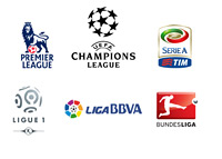 Euro Football League Logos - UEFA Champions League - English Premier League - French Ligue 1 - Italian Serie A - German Bundesliga - Spanish La Liga