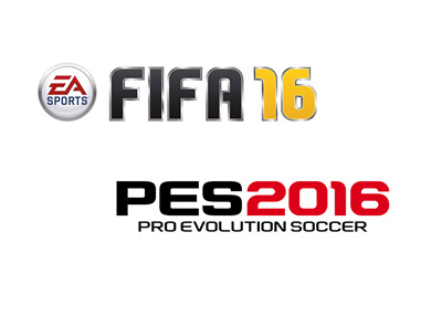 EA Sports FIFA 16 and Pro Evolution Soccer (PES) 2016 by Konami - Video game logos