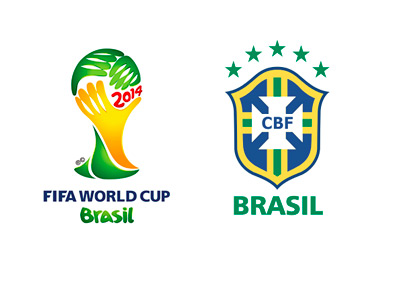 2014 FIFA World Cup logo and Brazil national team crest