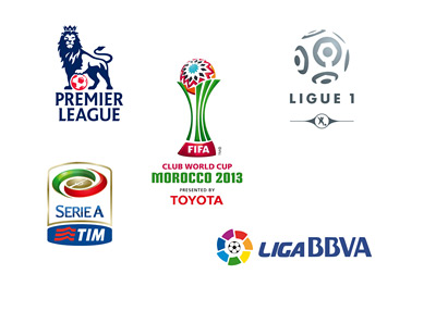 FIFA Club World Cup 2013, English Premier League, Italian Serie A, French Ligue 1 and Spanish La Liga - Logos