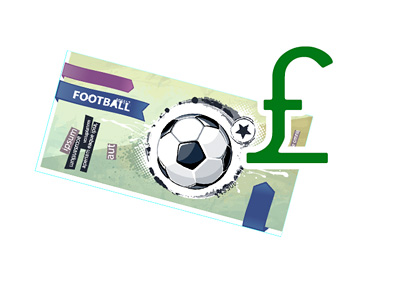 Football / Soccer ticket next to British Pound symbol