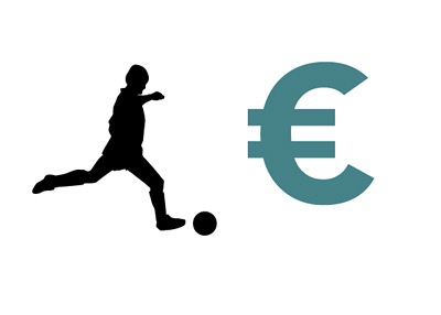 Football player kicking the ball next to the Euro currency symbol - Player Transfers - Illustration