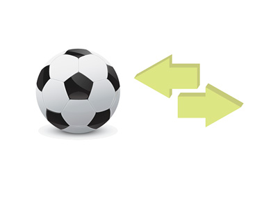 Illustration of Football Transfers - Ball and arrows