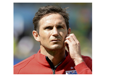 Frank Lampard in deep thought wearing the England warm-up shirt