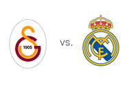 The UEFA Champions League matchup - Galatasaray vs. Real Madrid - Team Crests