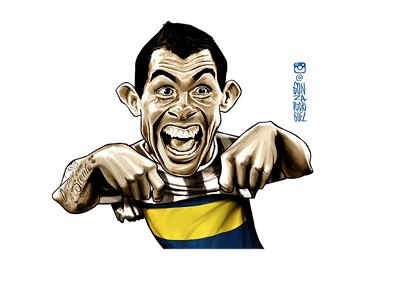 Carlito Tevez returns to Boca Juniors - Illustration / drawing / art