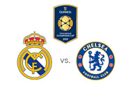 The International Champions Cup - Real Madrid vs. Chelsea - Matchup and Team and Tournament Logos