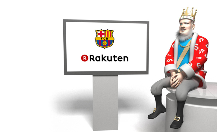 The King presents the new shirt deal between Barcelona FC and Rakuten a Japanese retail giant.